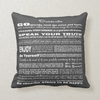 Desiderata Poem Poetry Poesy Writing (Dark Gray) Cushion