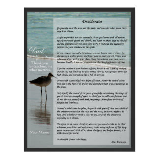 Desiderata Poem - Seagull on Beach Scene Poster