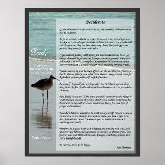 Desiderata Poem - Seagull on Beach Scene Poster