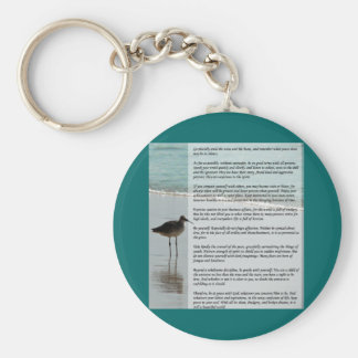 Desiderata Poem - Seagull on the Beach Scene Basic Round Button Key Ring
