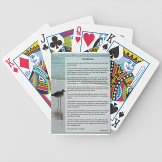 Desiderata Poem - Seagull on the Beach Scene Bicycle Playing Cards