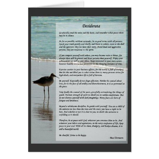 Desiderata Poem - Seagull on the Beach Scene