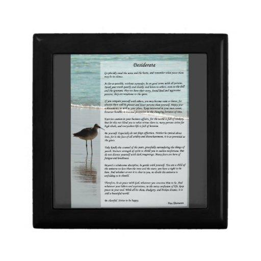 Desiderata Poem - Seagull on the Beach Scene Jewelry Boxes