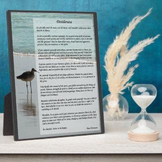 Desiderata Poem - Seagull on the Beach Scene Plaque