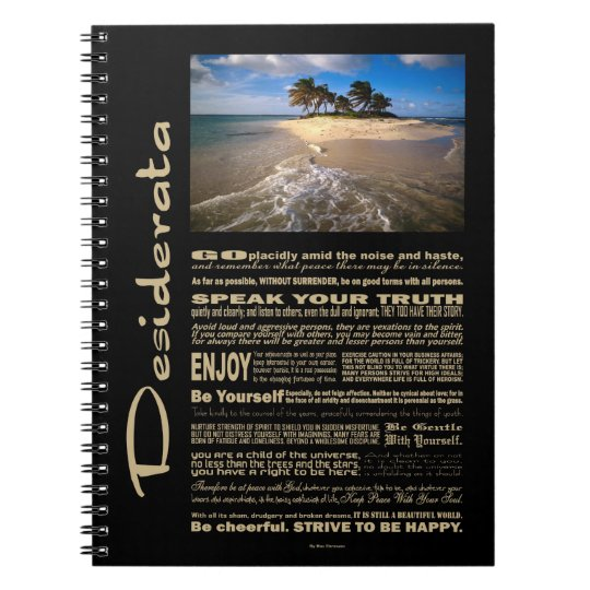 Desiderata Poem Small Solitary Island Notebooks