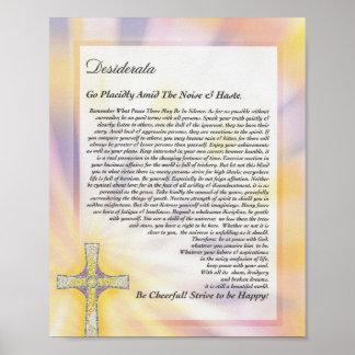 DESIDERATA Poem with Mosaic Cross Poster