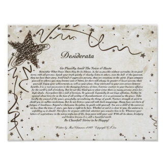 DESIDERATA Poster by Max Ehrmann-Shining Star