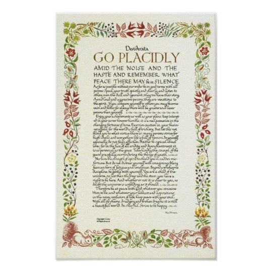 DESIDERATA Poster by Max Ehrmann - Wildflowers