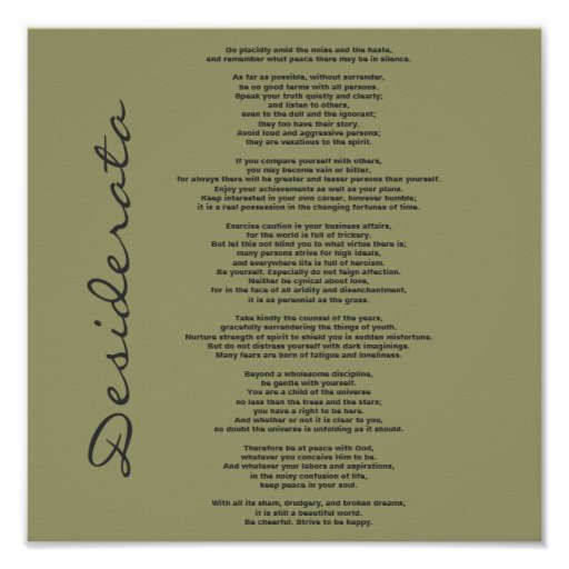 Desiderata Poster - Change Background Color