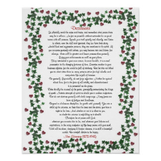Desiderata Poster Ivy Hearts
