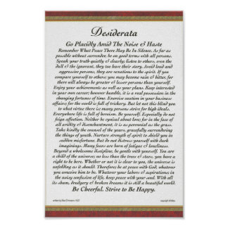 DESIDERATA Poster Max Ehrmann-Formal Trim
