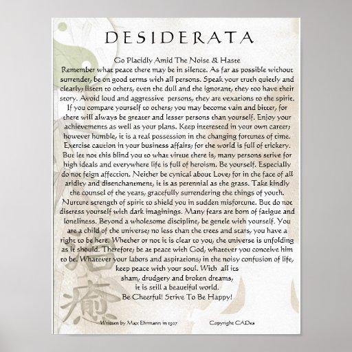 Desiderata Poster=Meditating Yoga Yin Yang Design