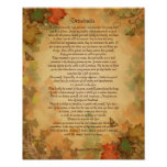 Desiderata prose on Fall colours background Poster