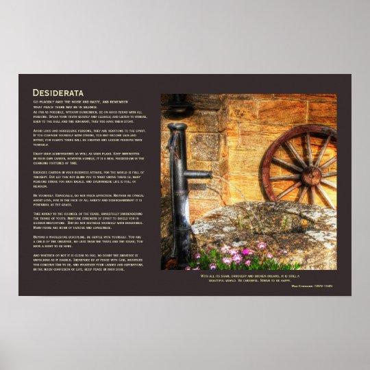 Desiderata - Rustic Pump, Well and Cartwheel scene