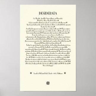 DESIDERATA Sunburst on Parchment Poster