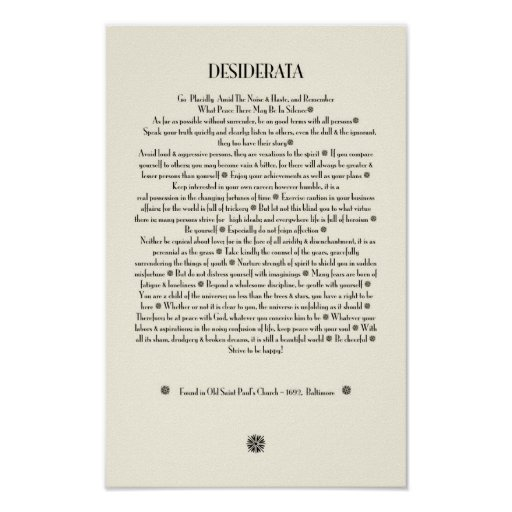 DESIDERATA Sunburst on Parchment Print