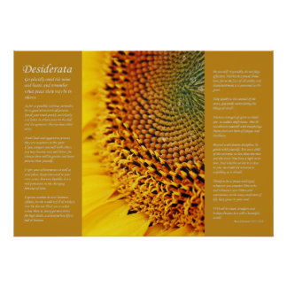 Desiderata - Sunflower Seeds Poster