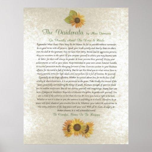 DESIDERATA Sunflowers Print