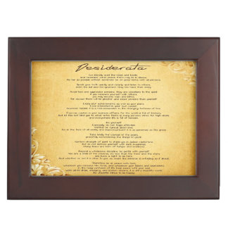 """""""Desiderata"""" Vintage Floral Parchment Personalized Keepsake Boxes"""
