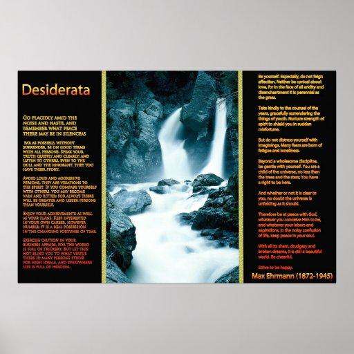 DESIDERATA Waterfalls Orange Posters 11