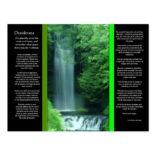 DESIDERATA Waterfalls Postcard