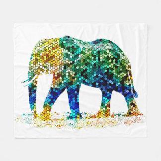 Design 36 Mosaic Elephant Fleece Blanket