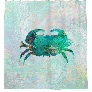 Design 41 Turquoise Crab Shower Curtain