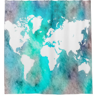 Design 62 World Map Aqua Turquoise Shower Curtain