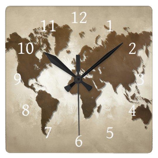 Design 64 world map square wall clock