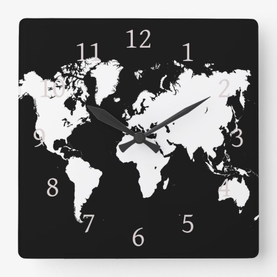 Design 69 World Map Square Wall Clock