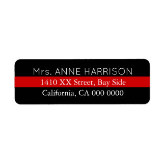 design a black & red striped return address label