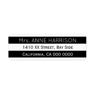 design a black & white striped return address label
