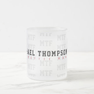 design a cool monogrammed, name + initials, frosted glass coffee mug