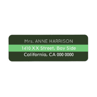 design a green striped return address label