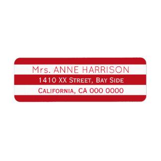 design a red & white striped return address label