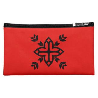 Design bag with mandala art  /  RED, BLACK Makeup Bag