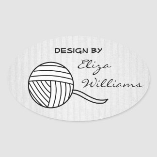 Design By... Black and White Ball of Yarn and Knit Oval Sticker