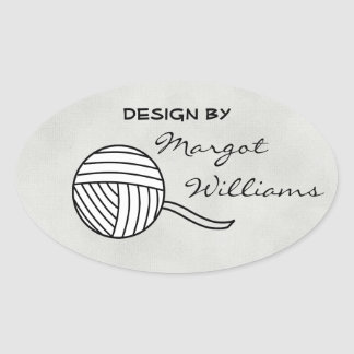 Design By... Black and White Ball of Yarn and Sand Oval Sticker