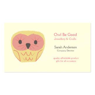 Design Cartoon Owl Shabby Chic Pink Business Card