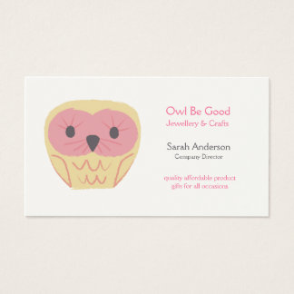 Design Cartoon Owl Shabby Chic Pink Business Card