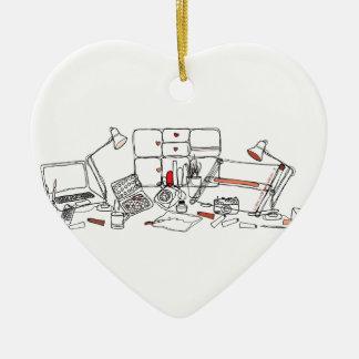 Design Desk - Black on White Ceramic Heart Decoration