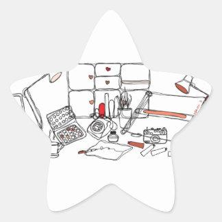 Design Desk - Black on White Star Sticker
