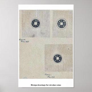 Design drawings for circular coins print