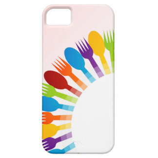 Design element with colorful spoons and forks iPhone 5 cover
