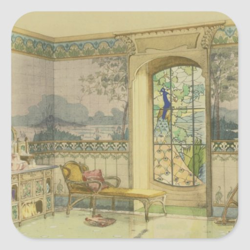 Design for a Bathroom, from 'Interieurs Modernes', Square Sticker