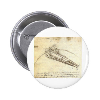 Design for a Flying Machine by Leonardo Da Vinci 6 Cm Round Badge