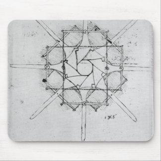 Design for a folding Capstan handle, Fol. 376v-c Mouse Mat