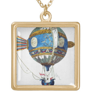 Design for a hot-air balloon with a diameter of 12 gold plated necklace