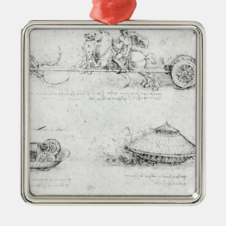 Design for a scythed chariot and armoured car Silver-Colored square decoration