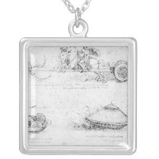 Design for a scythed chariot and armoured car silver plated necklace